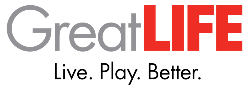 GreatLIFE Logo. GreatLIFE, Live. Play. Better.
