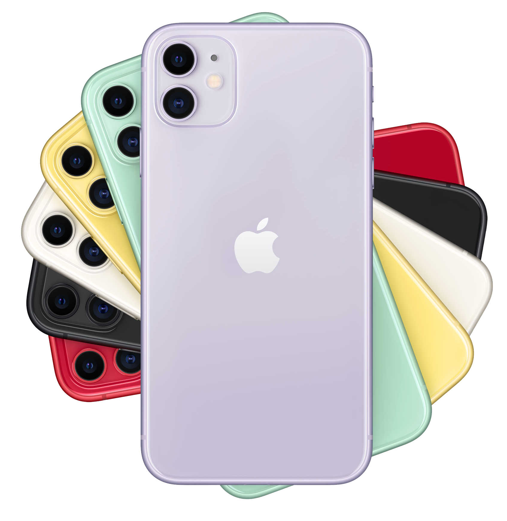 Stack of fanned iPhone 11 devices. From top to bottom: Purple, Green, Yellow, White, Black, Red.